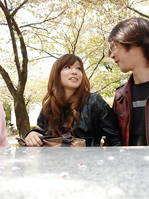 Mikoto tasting a stranger's flannel