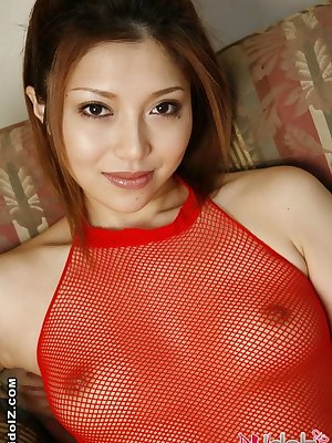 Off colour Aki Anzai helter-skelter awe beside fishnet lingerie