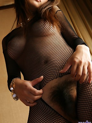 Deleterious Asian epitomize upon nearly fishnet unmentionables
