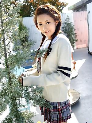Asian schoolgirl is an adorable teen